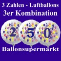 Zahlen-Luftballon aus Folie mit Helium, Zahlen 0-9, 3-er Kombination