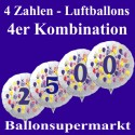 Zahlen-Luftballon aus Folie mit Helium, Zahlen 0-9, 4-er Kombination