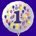 Zahlen-Luftballon aus Folie mit Helium, Zahl 1, Geburtstag, Jubiläum