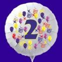 Zahlen-Luftballon aus Folie mit Helium, Zahl 2, Geburtstag, Jubiläum