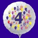 Zahlen-Luftballon aus Folie mit Helium, Zahl 4, Geburtstag, Jubiläum