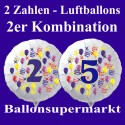 Zahlen-Luftballon aus Folie mit Helium, Zahlen 0-9, 2-er Kombination