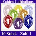 Luftballons Zahl 1  zum 1. Geburtstag / gemischte Farben, 30cm, 10 Stück