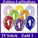 Luftballons Zahl 1  zum 1. Geburtstag / gemischte Farben, 30cm, 25 Stück