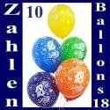 Geburtstagballons, 18. Geburtstag, 10 Stück
