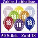Luftballons Zahl 18  zum 18. Geburtstag / gemischte Farben, 30cm, 50 Stück