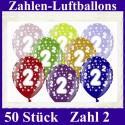 Luftballons Zahl 2  zum 2. Geburtstag / gemischte Farben, 30cm, 50 Stück