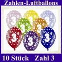 Luftballons Zahl 3  zum 3. Geburtstag / gemischte Farben, 30cm, 10 Stück