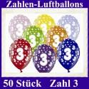 Luftballons Zahl 3  zum 3. Geburtstag / gemischte Farben, 30cm, 50 Stück