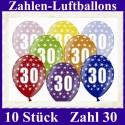 Luftballons Zahl 30  zum 30. Geburtstag / gemischte Farben, 30cm, 10 Stück
