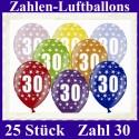 Luftballons Zahl 30  zum 30. Geburtstag / gemischte Farben, 30cm, 25 Stück
