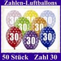 Luftballons Zahl 30  zum 30. Geburtstag / gemischte Farben, 30cm, 50 Stück