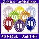 Luftballons Zahl 40  zum 40. Geburtstag / gemischte Farben, 30cm, 50 Stück