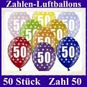 Luftballons Zahl 50  zum 50. Geburtstag / gemischte Farben, 30cm, 50 Stück