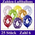 Luftballons Zahl 6  zum 6. Geburtstag / gemischte Farben, 30cm, 25 Stück