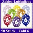 Luftballons Zahl 6  zum 6. Geburtstag / gemischte Farben, 30cm, 50 Stück