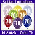 Luftballons Zahl 70  zum 70. Geburtstag / gemischte Farben, 30cm, 10 Stück