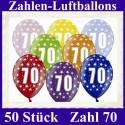 Luftballons Zahl 70  zum 70. Geburtstag / gemischte Farben, 30cm, 50 Stück