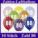 Luftballons Zahl 80  zum 80. Geburtstag / gemischte Farben, 30cm, 10 Stück
