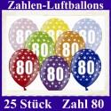 Luftballons Zahl 80  zum 80. Geburtstag / gemischte Farben, 30cm, 25 Stück