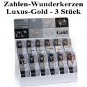 Wunderkerzen Zahlen 0-9, 3 Stück, Luxus-Gold
