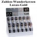 Wunderkerzen Zahlen 0-9, Luxus-Gold, Kombi