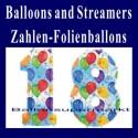 Luftballons Folienballons-Zahlen-Dekoration 18  inkl. Helium