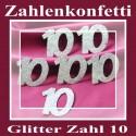 Zahlendeko Konfetti, silber Glitter, Zahl 10