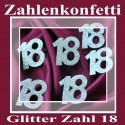 Zahlendeko Konfetti, silber Glitter, Zahl 18