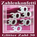Zahlendeko Konfetti, silber Glitter, Zahl 30