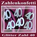 Zahlendeko Konfetti, silber Glitter, Zahl 40
