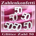 Zahlendeko Konfetti, silber Glitter, Zahl 50