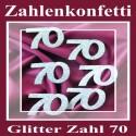 Zahlendeko Konfetti, silber Glitter, Zahl 70