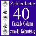 Zahlenkette Zahl 40, Geburtstagsdekoration, Kaskade zum 40. Geburtstag