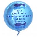 Zu Deiner Kommunion alles Gute, Junge, Luftballon aus Folie, türkis, ohne Helium