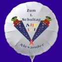 Zum 1. Schultag! Weißer Luftballon zum Schulanfang, mit dem Namen des Schulanfängers, inkl. Helium-Ballongas