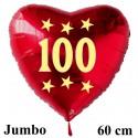 Großer Herzluftballon zum 100. Geburtstag, Jumbo-Folienballon mit Ballongas