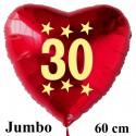 Großer Herzluftballon zum 30. Geburtstag, Jumbo-Folienballon mit Ballongas