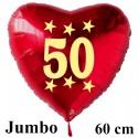 Großer Herzluftballon zum 50. Geburtstag, Jumbo-Folienballon mit Ballongas
