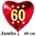 Großer Herzluftballon zum 60. Geburtstag, Jumbo-Folienballon mit Ballongas
