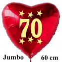 Großer Herzluftballon zum 70. Geburtstag, Jumbo-Folienballon mit Ballongas
