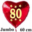 Großer Herzluftballon zum 80. Geburtstag, Jumbo-Folienballon mit Ballongas