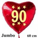 Großer Herzluftballon zum 90. Geburtstag, Jumbo-Folienballon mit Ballongas
