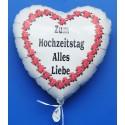 Luftballon- Herz ZUM HOCHZEITSTAG ALLES LIEBE, inklusive Helium
