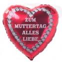 ZUM MUTTERTAG ALLES LIEBE, roter Herzluftballon aus Folie mit Ballongas-Helium