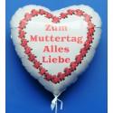 ZUM MUTTERTAG ALLES LIEBE, weißer Herzluftballon aus Folie mit Ballongas-Helium