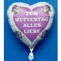 ZUM MUTTERTAG ALLES LIEBE, weißer Herzluftballon mit Herz und Blumen aus Folie mit Ballongas-Helium