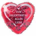 ZUM VALENTINSTAG ALLES LIEBE, roter Luftballon mit Helium-Ballongas, Ballongrüße