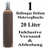 1 Ballongas Helium 20 Liter Mehrwegflasche