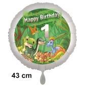 Dinosaurier Luftballon Zahl 1 zum 1. Geburtstag, 43 cm